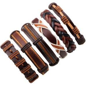 6pcs/set Ethnic Multilayer Leather Bracelets